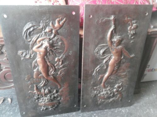 2 x Antique Cast Iron FIREPLACE COVER / SURROUND w/ Bronze Finish - Both/Pair