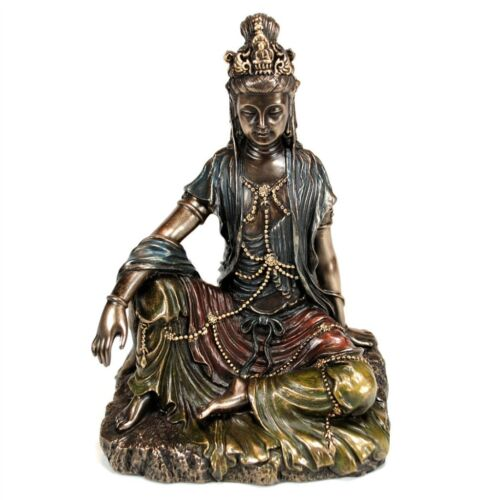"KWAN YIN STATUE 5"" Buddhist Goddess HIGH QUALITY Bronze Resin NEW Quan Guan Kuan"