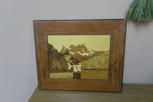 Vintage Inlaid Marquetry Wood Inlay Picture Castle of Chillon Lake Geneva 13x16""