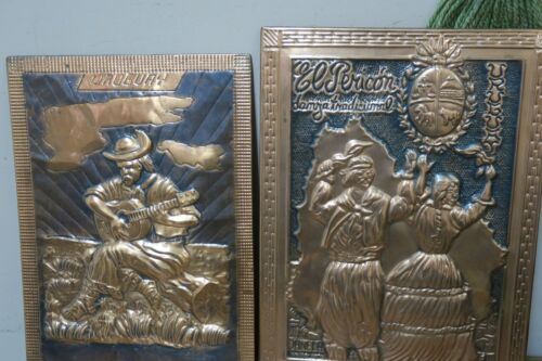 Set @ 2 Embossed Copper Relief Pictures from Uruguay Latin american Framed