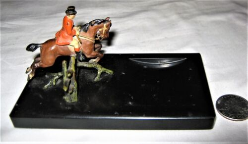 ANTIQUE AUSTRIAN BRONZE EQUESTRIAN ENGLISH RIDER HORSE FOX HUNT ART STATUE TRAY