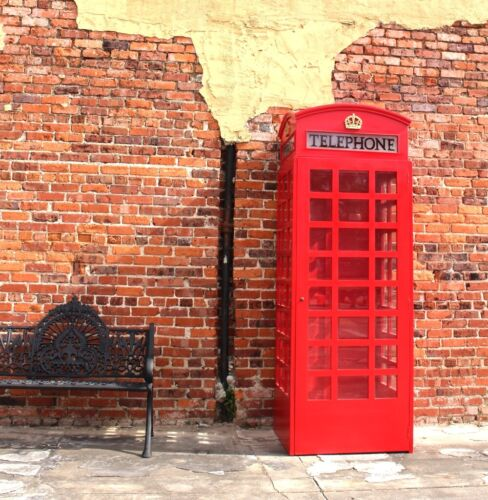 Red British Wood Telephone Booth English Replica Like Old Cast Iron Style Wooden
