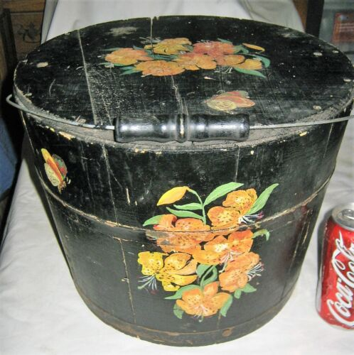 ANTIQUE COUNTRY USA FOLK ART KITCHEN FIRKIN STORAGE FOOD BUCKET PAINTING WOOD