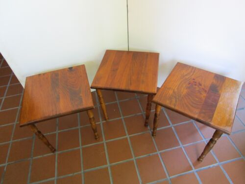 """Vintage Set 3 Solid Wood nesting Stacking Tables square 15"""" turned legs"""