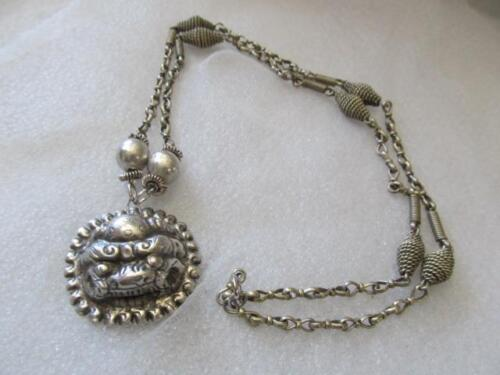 Antique Chinese Asian Foo Fu Lion Dog Sterling Silver Pendant Necklace
