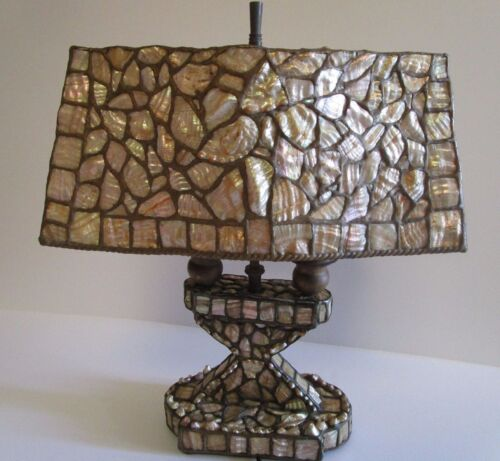 MUSEUM QUALITY TIFFANY STYLE LAMP ARTS AND CRAFTS DECO AMERICAN ABALONE ANTIQUE