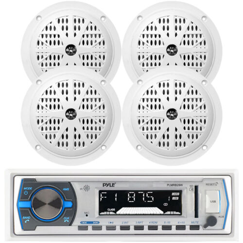 """Pyle Bluetooth Marine Stereo Receiver,  and 4x 6.5"""" Waterproof Speakers (White)"""