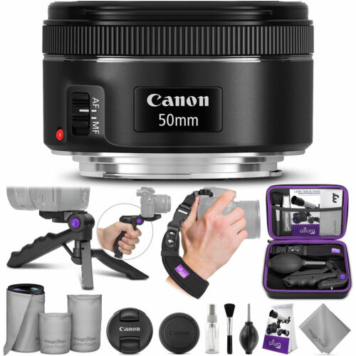 Canon EF 50mm f/1.8 STM Standard Prime Lens w/ Essential Photo Accessory Bundle