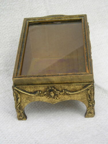 Antique Vintage Gold Sponged Display Box Glass Picture Frame Top Gilt Finish