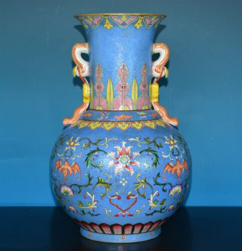 FABULOUS CHINESE FAMILLE ROSE PORCELAIN VASE MARKED QIANLONG RARE P0960