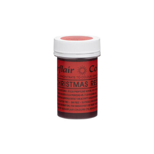 Sugarflair Paste Gel Edible Food Colouring Colour Icing 25G - Christmas Red