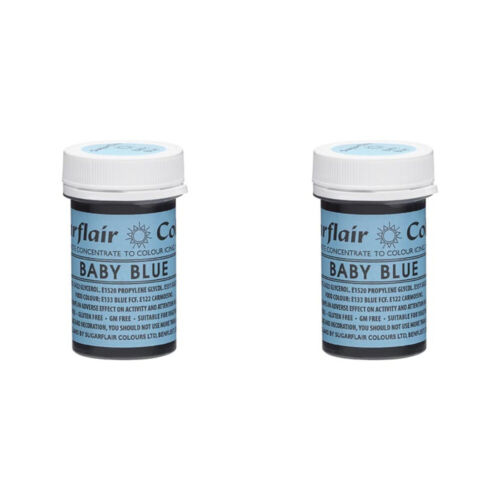 2 x Sugarflair 25g Baby Blue Spectral Paste Gel Edible Food Colour Cake Icing