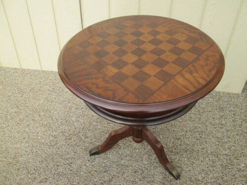58203 ROUND CHERRY GAME TABLE CHECKERBOARD CHESS TOP