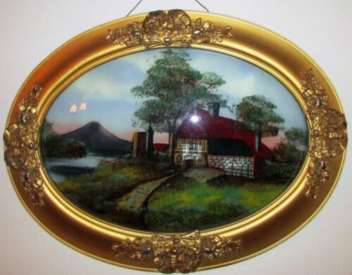 Antique Ornate Gesso & Wood Lemon Gold Frame w/ Reverse Farm Painting on Glass