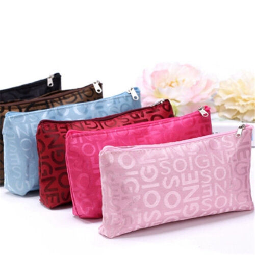 Women Portable Cosmetic Bag Letters Bags Beauty Zipper Travel Make Up Cases