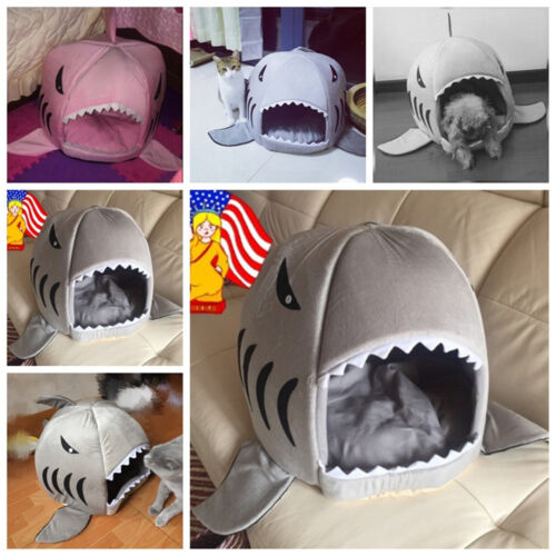 Shark Mouth Teddy Pet Dog Cat Bed House Doggy Puppy Warm Kennel Cushion Pad New