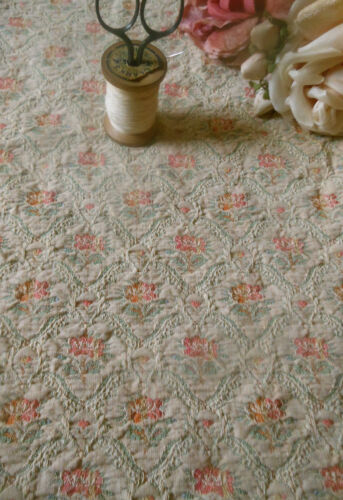 Antique French Roses Floral Cartouche Brocade Fabric  #2 ~ Coral Pink Aqua Cream