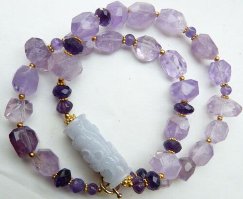 Antique Chinese Lavender Jade Dragon Bead - Amethyst Necklace