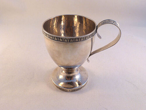 "Beautiful Coin Silver Footed Cup W/ Decorated Handle & Rims-Mono'd 3 1/2"" Tall"
