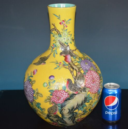 BEAUTIFUL ANTIQUE CHINESE FAMILLE ROSE PORCELAIN VASE MARKED QIANLONG RARE H6918