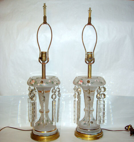 "Antique Pair 15"" Frosted Victorian Glass Electrified Luster Lamps with 8 Prisms"