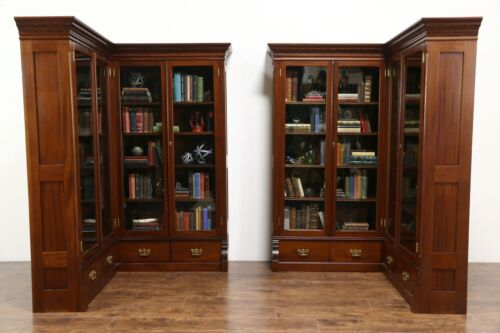 Pair 1890 Antique Mahogany Library Corner Bookcases, Glass Doors, Disassemble
