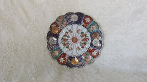 "Antique Japanese Imari Porcelain Petal Dish 7"" Signed"