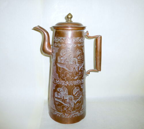 """Antique China Export 13"""" Tall Fully Etched Body Swing Handle Copper Coffee Pot"""