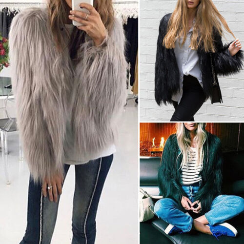 New Winter Women Warm Faux Fur Coat Jacket Cardigan Tops Parka Outwear Overcoat