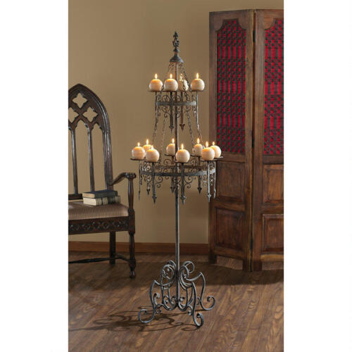 Medieval Gothic Candelabra 12 Candle Forged Metal Pedestal Floor Candle Stand