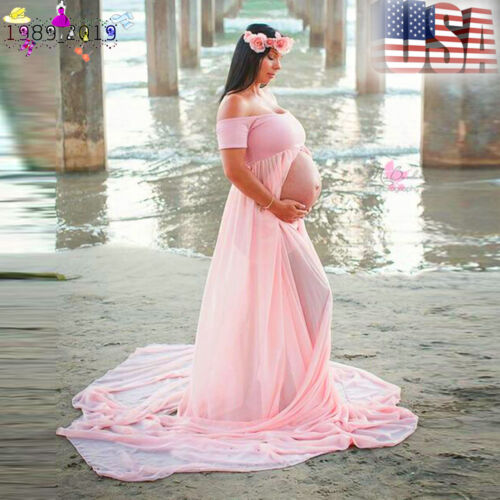 Pink Chiffon Maternity Maxi Dress Pregnant Photography Props Studio Clothing US