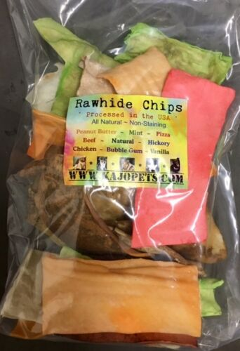 Rawhide 5-FLAVOR CHIPS Dog Chews 1 POUND Bulk Sealed Package Natural *100% USA*