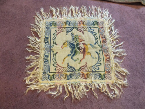 """Collectible Tapestry Table Linen 16"""" + 4"""" Fringe Horse & Rider UNIQUW"""