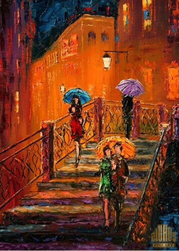 ANDRE DLUHOS City Night Lights Rain Love Bridge Limited Edition ACEO Print Art