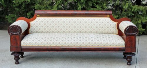 Philadelphia Cook & Parkin Empire Flamed Mahogany Sofa Shell Carved  c1825