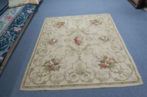 """Vintage Aubusson European Woven Tapestry Rug Very Fine 57"""" x 64"""""""