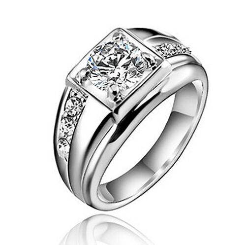 18k White Gold Plated Wedding Band Engagement Silver Color Ring Size 13 R13