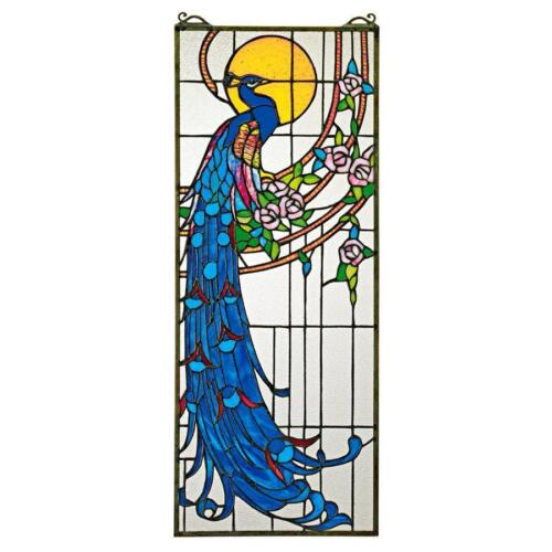 Tiffany Style Royal Peacock in Sunlight Hand Crafted Stained Glass Suncatcher