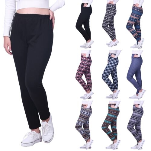 Women's Fleece Lined Winter Leggings Warm Thermal High Waist Patterned Pants