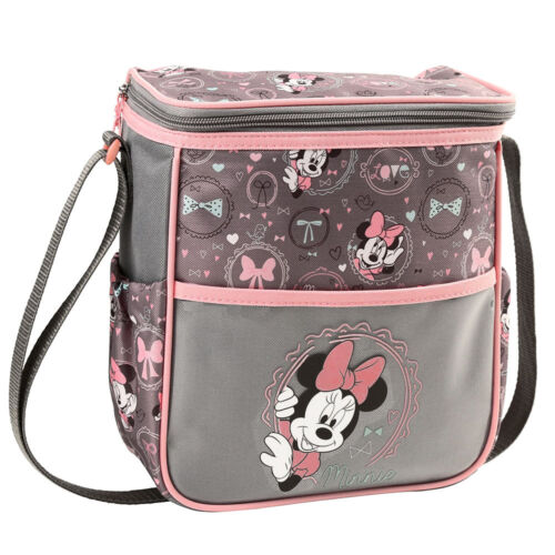 Disney Minnie Mouse Baby Mini Diaper Bag Bottle Lunch Tote Bag Gray Pink Bows NW