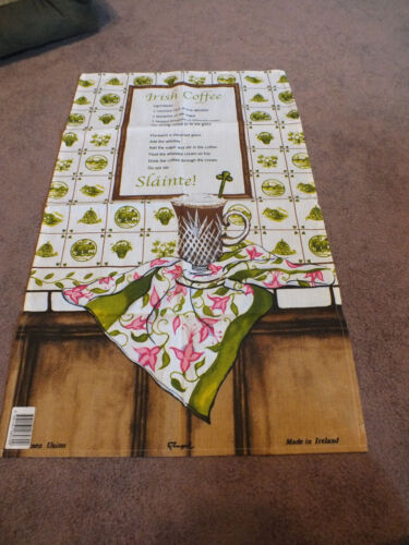 """Collectible Tapestry Table Runner Signed Made in Ireland """"Irish Coffee"""" 30 x 18"""""""