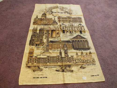 """Collectible Tapestry Table Runner Souvenier """"LONDON"""" Signed Irish Linen 30x19"""""""
