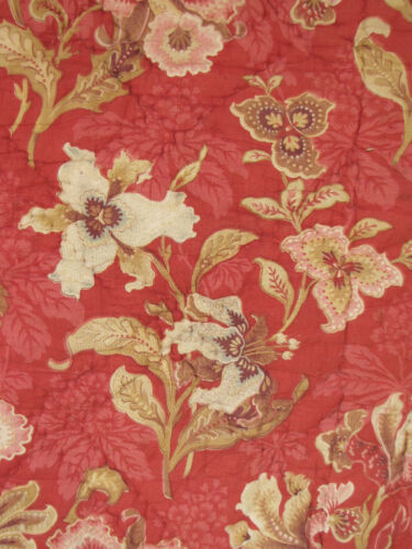 Antique French printed Quilt c1890 2 sides red ground hand stitched / quilted
