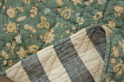 Antique French  quilt green Provence woodblock+ resist printed Vichy check linen
