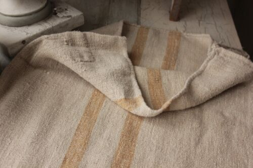 Antique hemp caramel stripe nubby grainsack linen grain sack feed bag PATCHED
