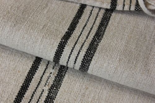 GRAIN SACK RARE BLACK vintage homespun RARE  linen washed old striped grainsack
