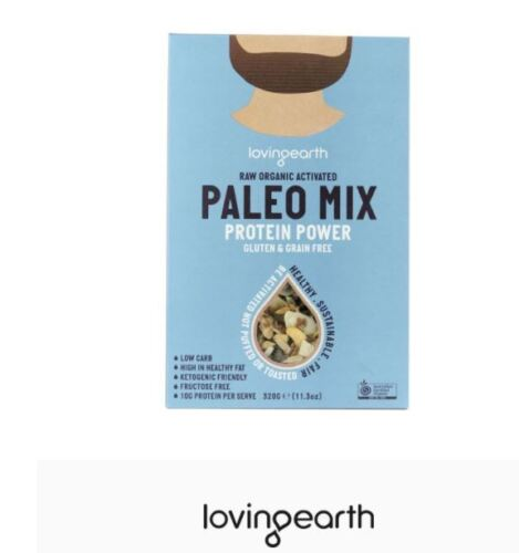 2 x 320g LOVING EARTH Raw Organic Activated PALEO MIX Protein Power GLUTEN FREE