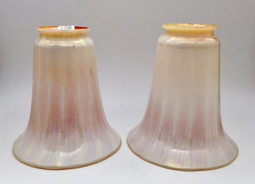 "Lustre Art Glass ~ PAIR RIBBED WHITE & GOLD SHADES ~  5-1/2"" Tall"