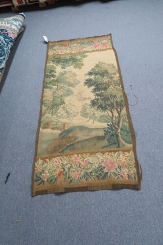"""Antique Flemish French Aubusson Verdure Tapestry Silk & Wool 30"""" x 64""""  1800's"""