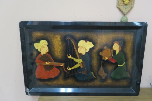 """Vintage Russian Hand-painted Tole Tray Pictorial Ethnic Art Lacquered 17"""" x 27"""""""